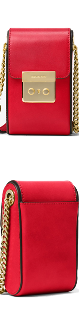 MICHAEL MICHAEL KORS Scout Leather Crossbody in Bright Red