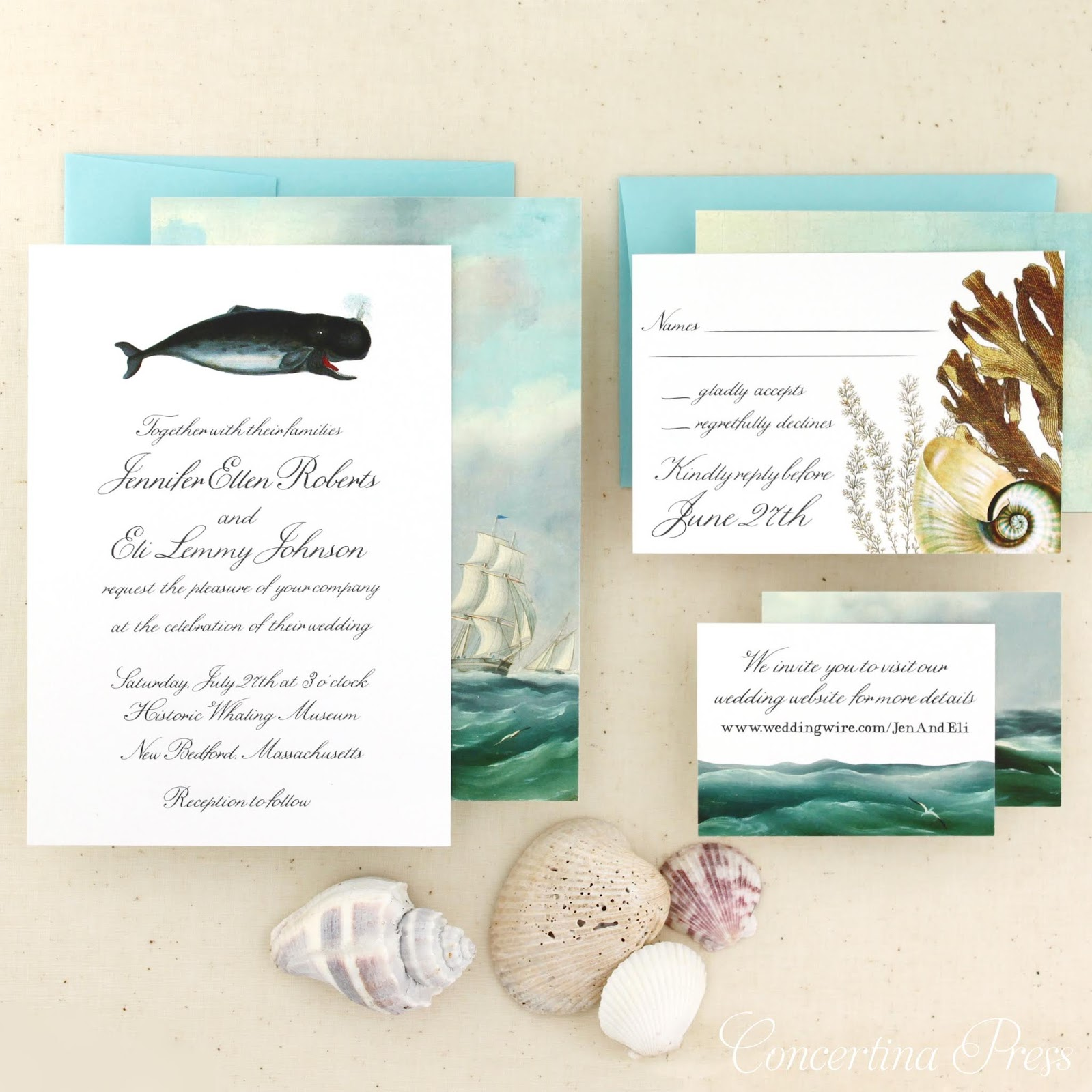 New Bedford Whaling Museum Wedding Invitations from Concertina Press