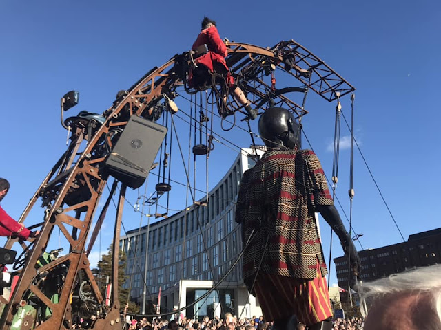 back view of little boy giant in liverpool -  Royal de Luxe