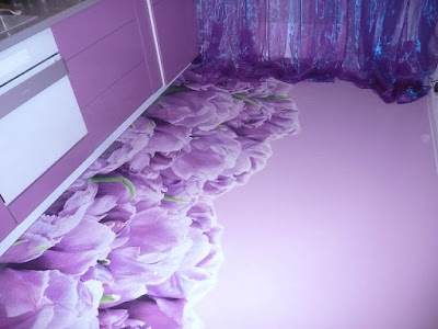 floral 3d flooring murals for kitchen floors