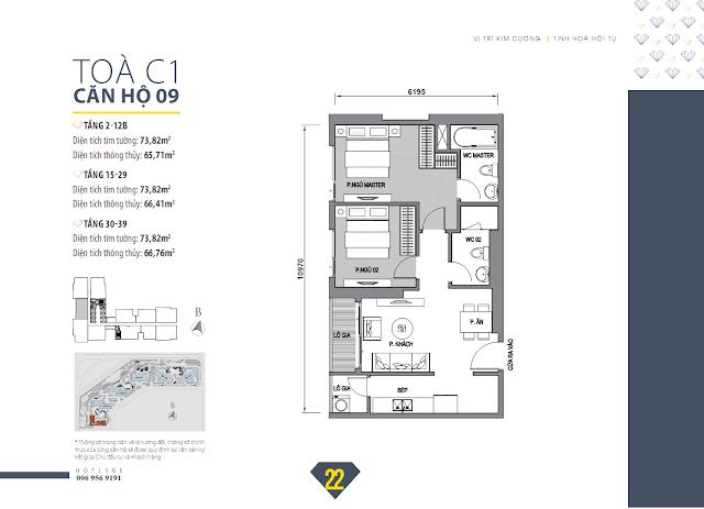 Mặt bằng căn hộ 09 tòa C1 Vinhomes D Capitale