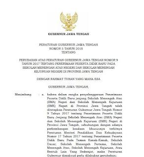 Pergub Jateng No 5 Tahun 2018 tentang PPDB Online di Jawa Tengah