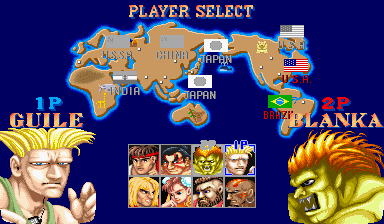 Gli otto personaggi selezionabili nel primo ''Street Fighter II''