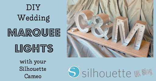 Make DIY Wedding Marquee Lights with Silhouette Cameo & Silhouette chipboard by Janet Packer #wedding #diywedding #SilhouetteCameo #marquee #lights