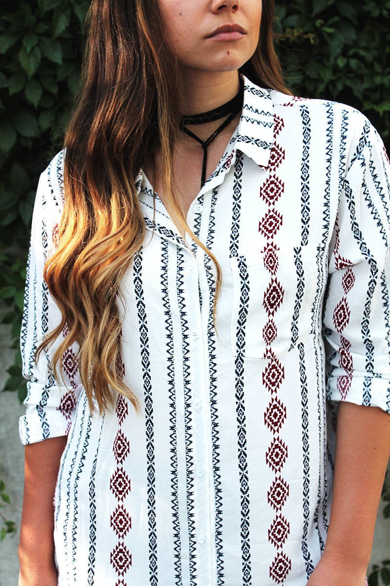 aztec blouse, patterned blouse, fashion blogger
