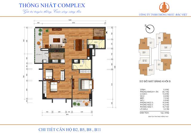 Thiết kế căn hộ B2 B5 B8 B11 Thống Nhất Complex - Dt 122m2