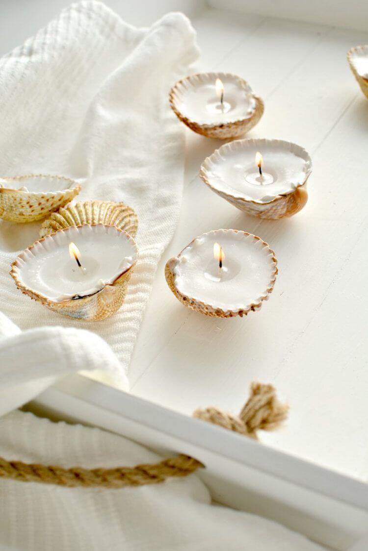 12 velas diy, velas en conchas de playa