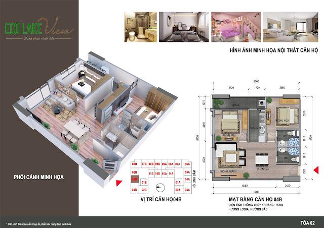 Thiết kế căn hộ 04B chung cư ECO LAKE VIEW