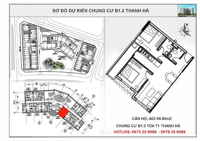 Sơ đồ mặt bằng chung cư B1.3 Thanh Hà tòa T1 căn hộ A02