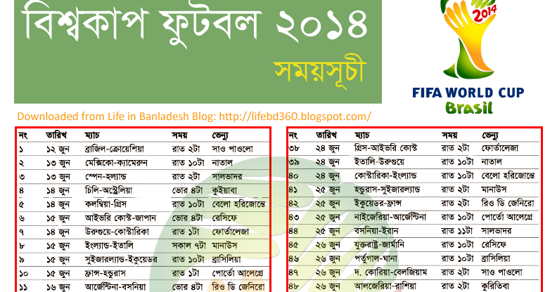 world cup football 2014 fixture in bangladesh time life