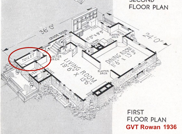 catalog image of floor plan Gordon-Van Tine Rowan 1936 indicating powder room at base of staircase