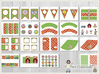 Printable Birthday PARTY KIT The Farm, Party pack, DIY, Instant download, Birthday Decorations, Gift box, Party idea