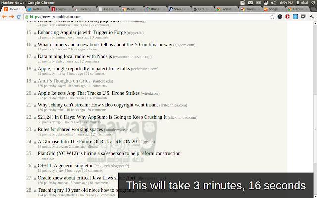 اضافة لمتصح جوجل كروم لمعرفة الوقت المتوقع لقراءة اى مقال على الانترنت Reading Time for Chrome(TM)
