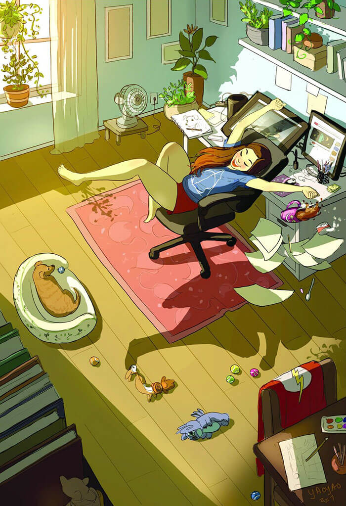 20 Beautiful Illustrations That Show What's Like To Live Alone - Being A Little Clumsy