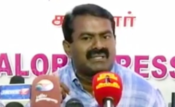 Nam Thamizhar Katchi leader Seeman addressing reporters at Cuddalore regarding cash for votes