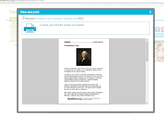 Presidents Day free reading passages- Presidents Day Lessons and Activities- with a link to a literacy center FREEBIE