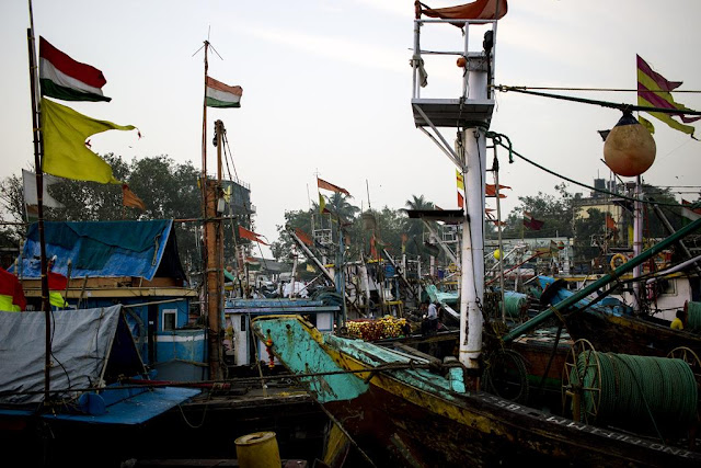 boats, fishing, masts, flags, colourful, morning, sassoon docks, mumbai, india,