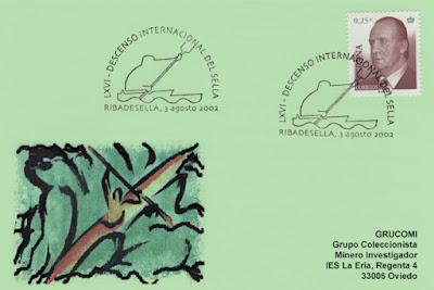 Tarjeta del matasellos del 66 Descenso Internacional del Sella. Piraguas 2002