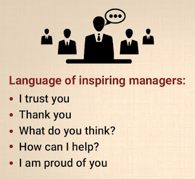 Language of inspiring managers: i trust you, thank you, i am proud of you, what do you think?, how can i help?.