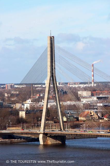 Vansu bridge. Daugava river. riga. latvia. the touristin
