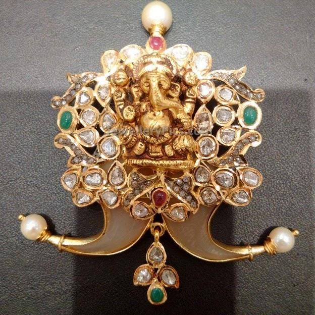 Puligoru Pendant With Ganesh Latest Jewellery Designs