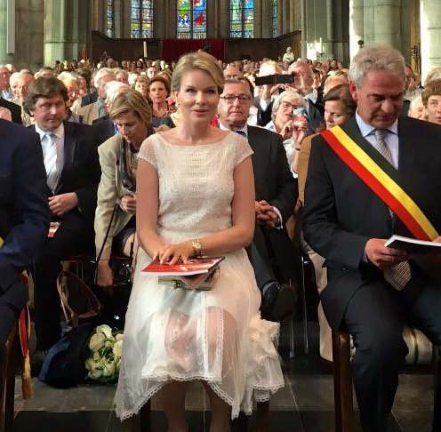 Queen Mathilde attended a concert at the Abbaye du Val-Dieu. Queen Mathilde wore Alice By Temperley London lace Dress.
