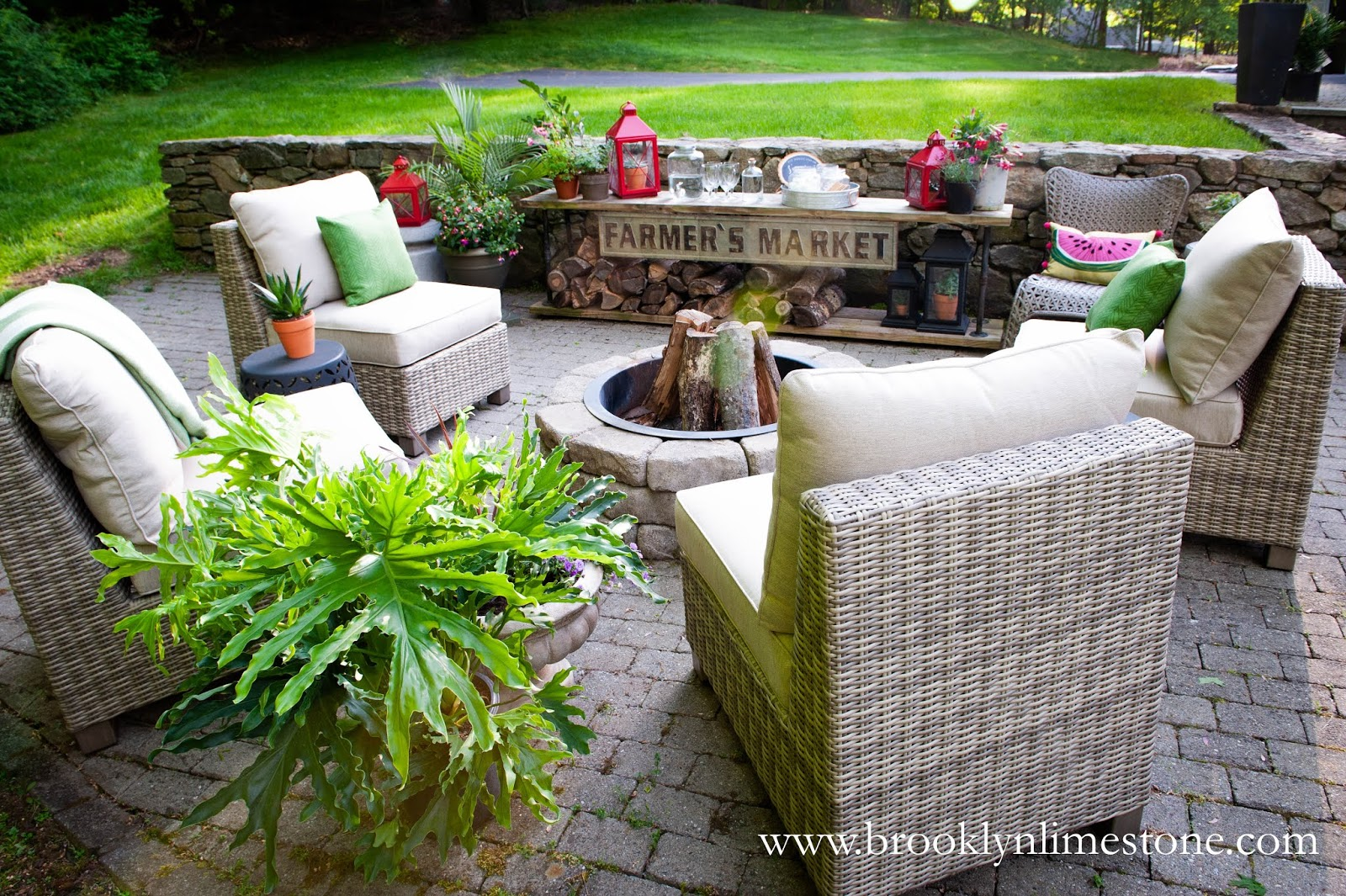 plants armless chairs firepit