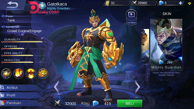 Mobile Legends : Hero Gatotkaca ( Mighty Guardian ) Magic Attack Damage Builds Set up Gear