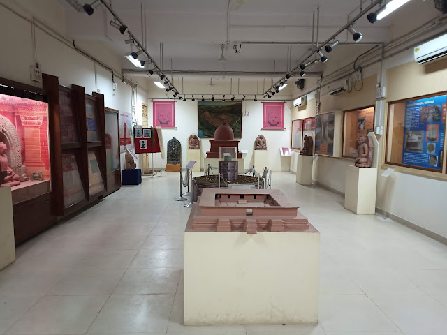 View of Buddhist archaeological museum gallery with models and displays at MS University Baroda
