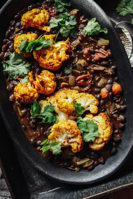 Spiced Black Beans with Turmeric Roast Cauliflower
