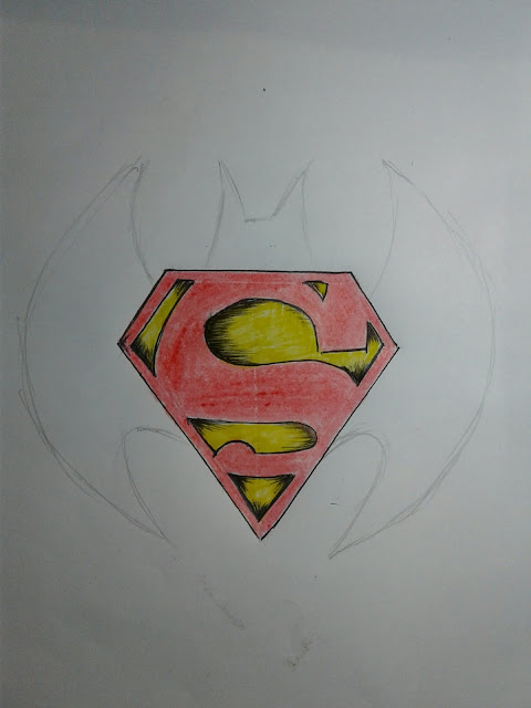 batman vs Superman logo drawing