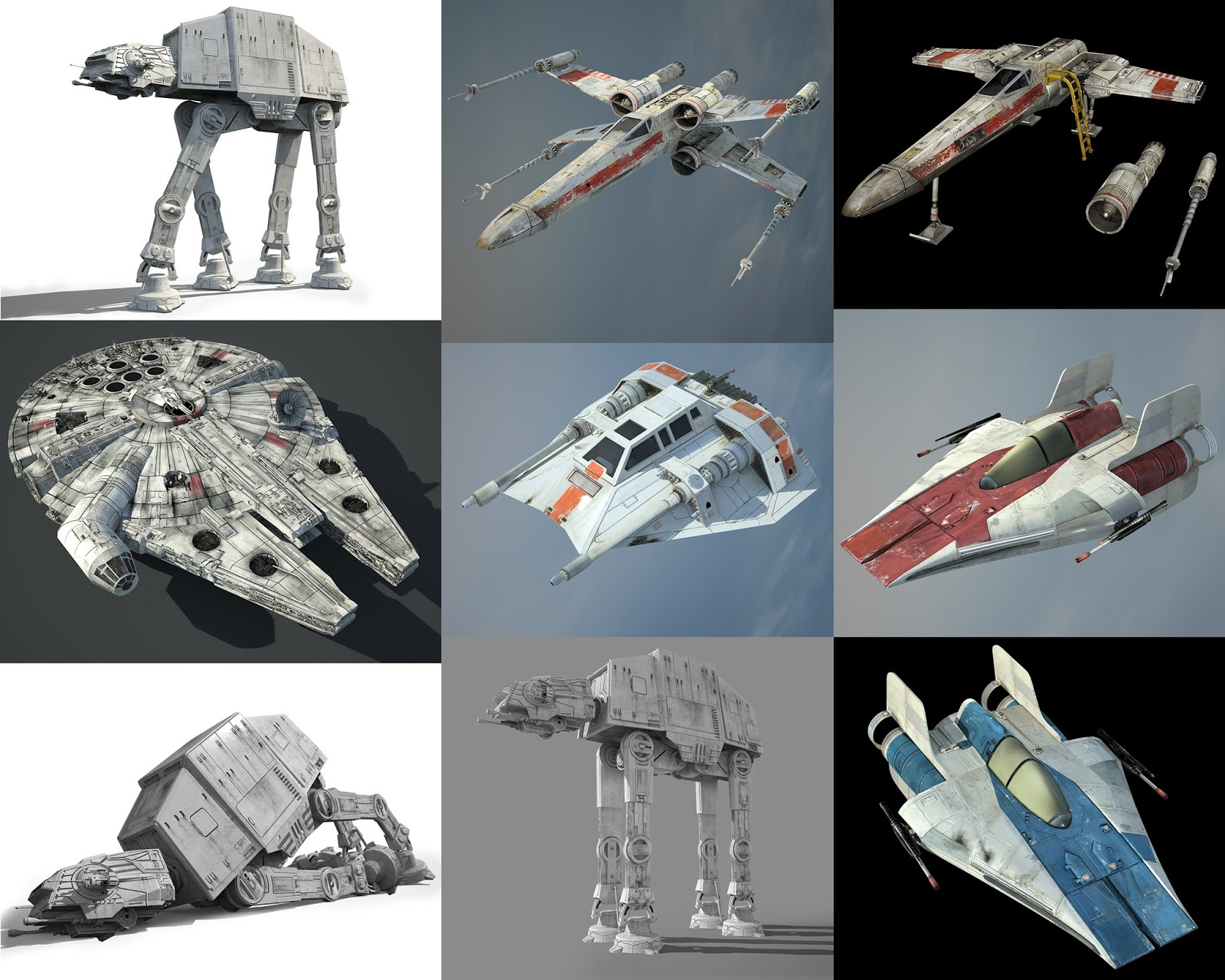 Star Wars Ultimate Vehicles - X-wing, Snowspeeder, A-wing, AT-AT, Millennium Falcon 3D Models