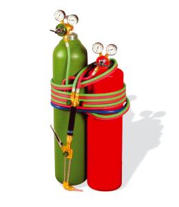 El verde es el cilindro de oxigeno, y el rojo es el de acetileno que suele ser mas pequeño.