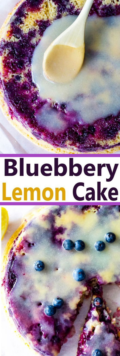 VEGAN LEMON BLUEBERRY CAKE WITH LEMON GLAZE #lemon #vegan