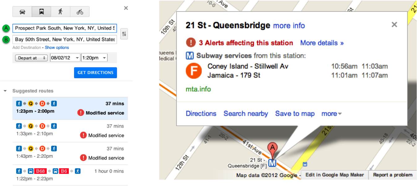 Ny Subway Map Google.Map Battles Google Transit Adds Service Advisories Second Ave