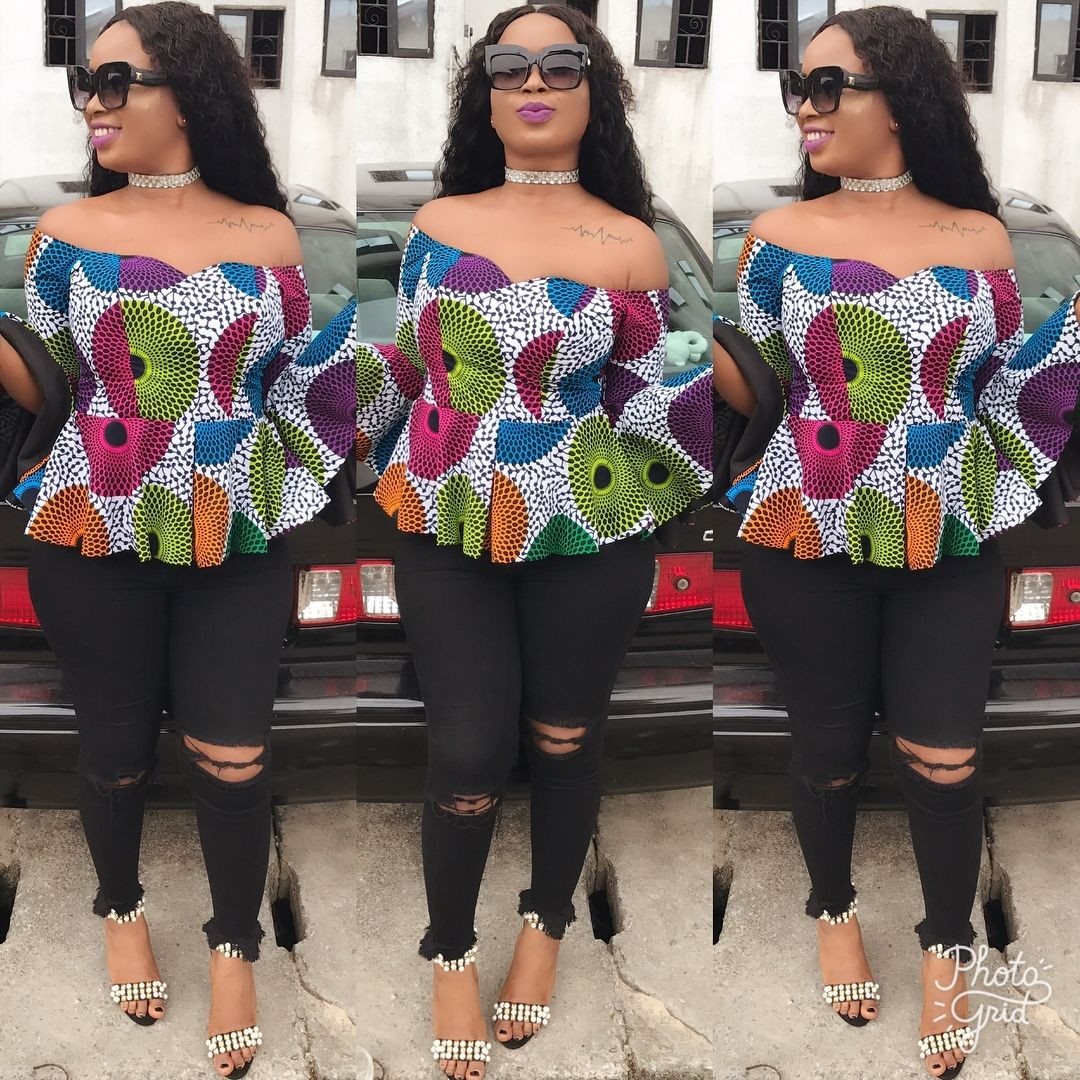 Ankara Print Tops With Jeans Style