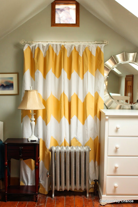 Yellow Chevron Curtains 2: Taping Off the Pattern