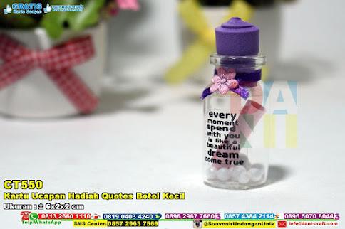 Kartu Ucapan Hadiah Quotes Botol Kecil