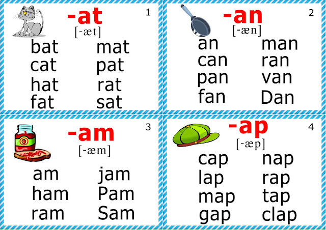 Short a sound flashcards - ESL phonics resources