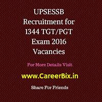 UPSESSB Recruitment for 1344 TGT/PGT Exam 2016 Vacancies