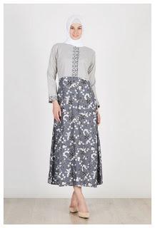 Dress batik muslim motif modern terbaru