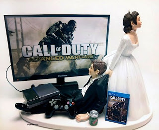 Best War Video Gamer Xbox PS4 Wedding Cake Topper