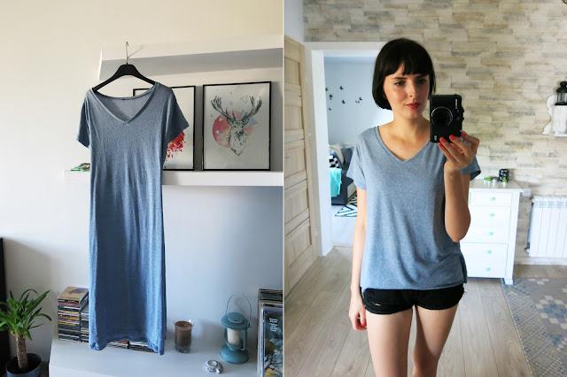 Sukienka od SheIn, która okazała się być piżamą a stała się bluzeczką.