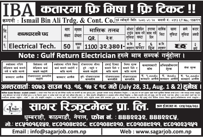 Free Visa, Free Ticket, Jobs For Nepali In QATAR, Salary -Rs.32,000/