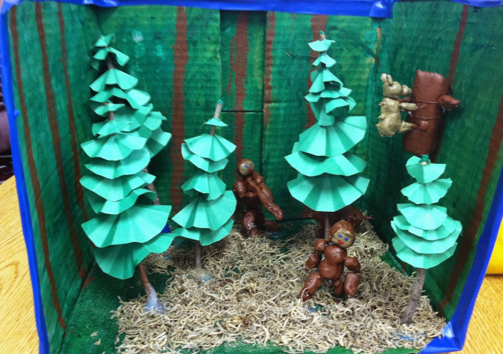 The diorama is showing Samuel in the woods as he is traveling to try to  find his parents. I love the trees! They are made of circles of paper  folded up and ...