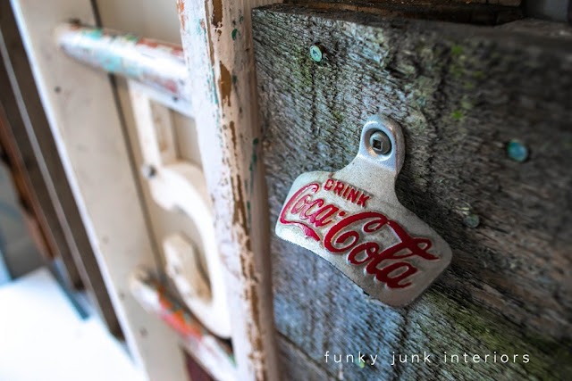 coke opener junk wall / Wall art with junk for coats - a unique entryway by FunkyJunkInteriors.net