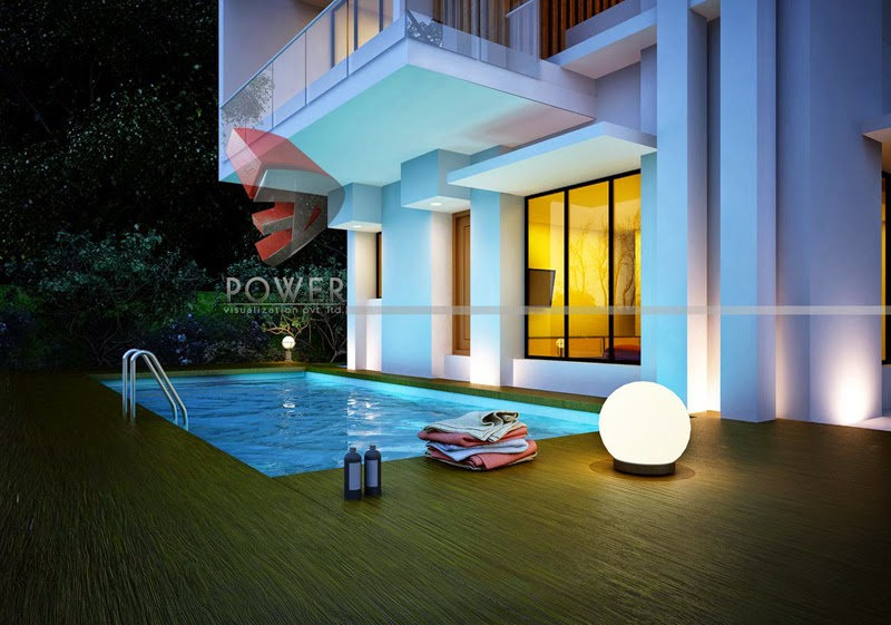 Night View Of Swimming Pool In Bungalow