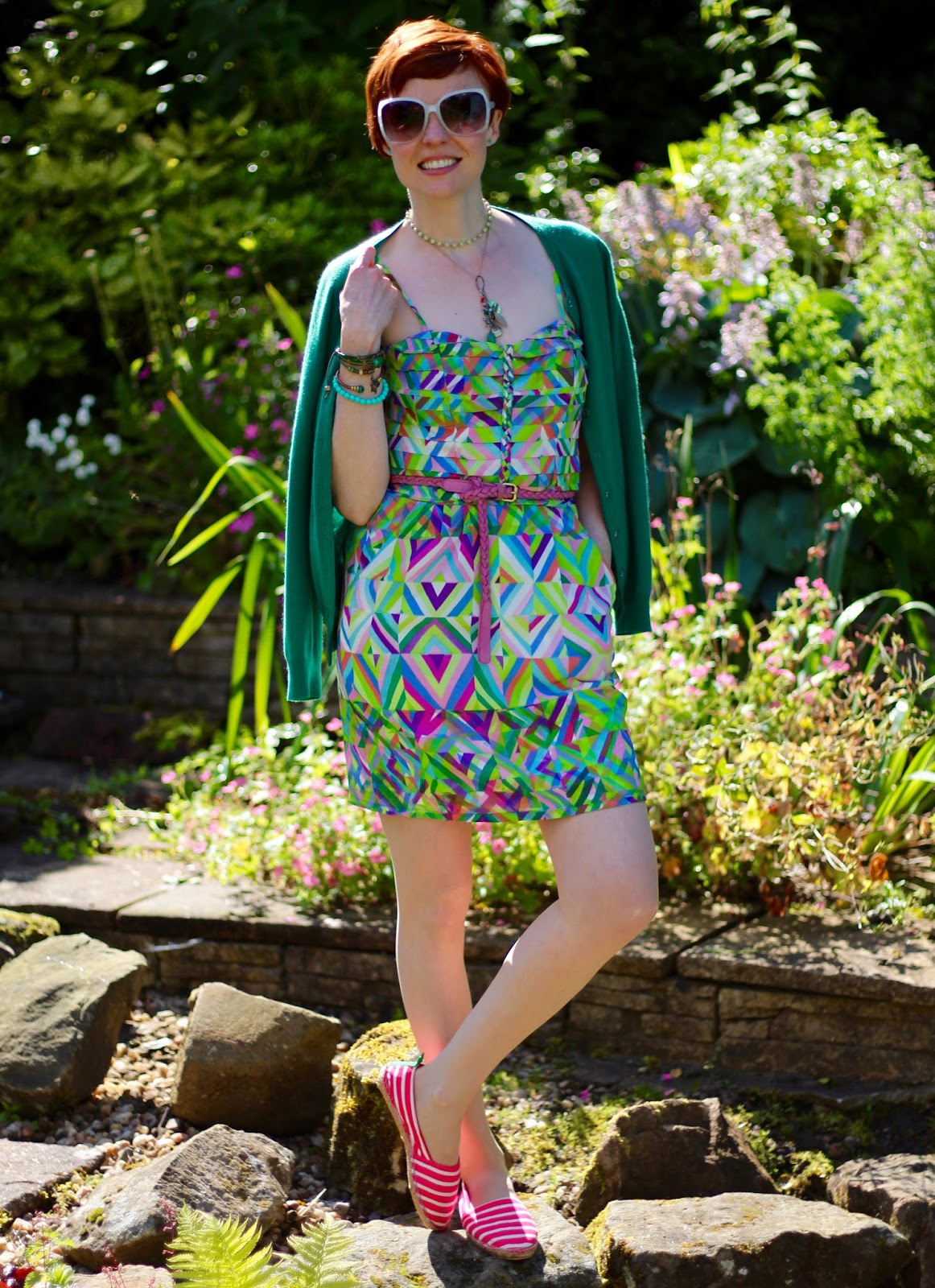 Fake Fabulous | What makes a summer dress frumpy? Summer dress, espadrilles and oversized glasses | Green, Pink and White.