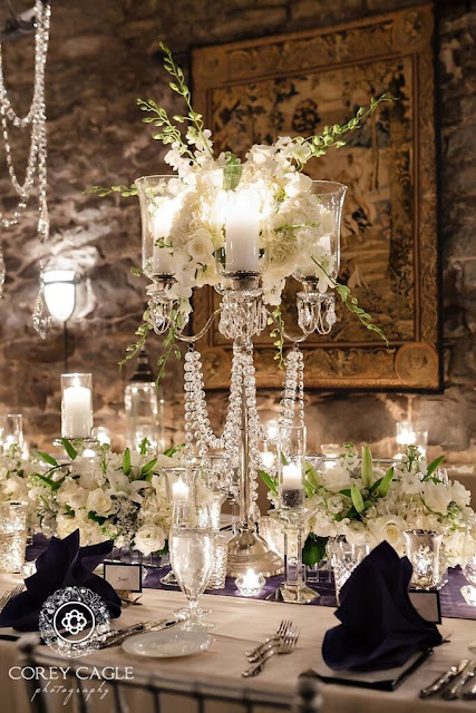 Floral Candelabra in the Champagne Cellar | Corey Cagle Photography