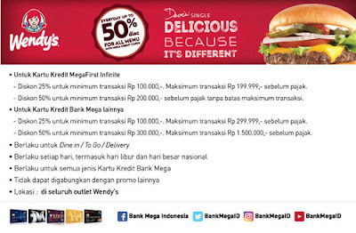 Wendys Daves Single Diskon hingga 50% - Bank Mega